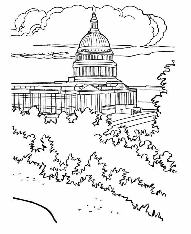 simple capitol building coloring pages - photo#8