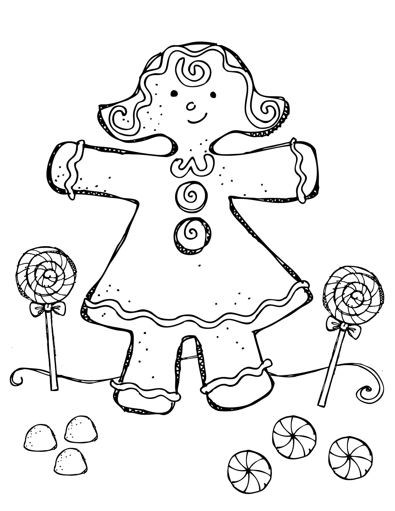 Gingerbread boy and girl coloring pages az coloring pages for Gingerbread man coloring pages free