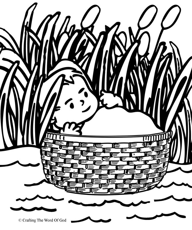 Baby Moses Basket Coloring Page High Quality Coloring Pages