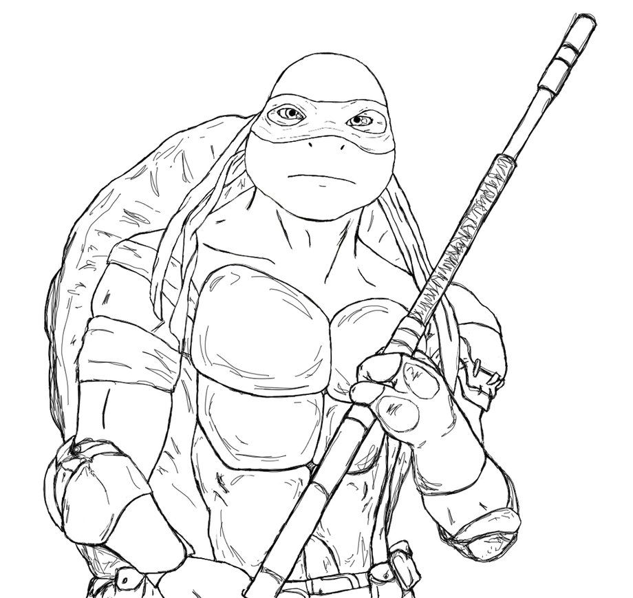 Line Art Ninja Turtles : Donatello coloring pages home