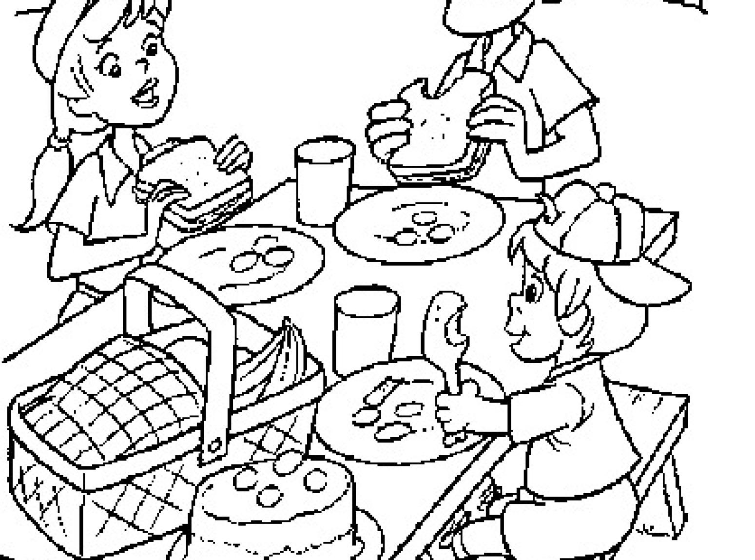 Picnic Coloring Page 17 Pictures Colorinenet 3923