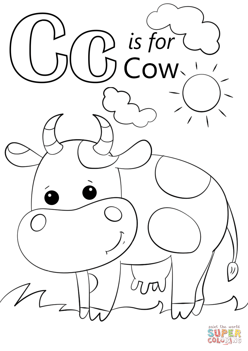 letter c is for cow coloring page free printable coloring pages