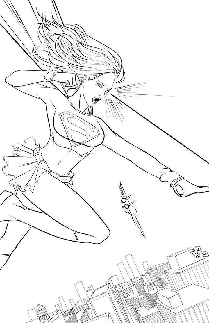 super girl coloring pages for kids and for adults - Supergirl Coloring Pages Kids
