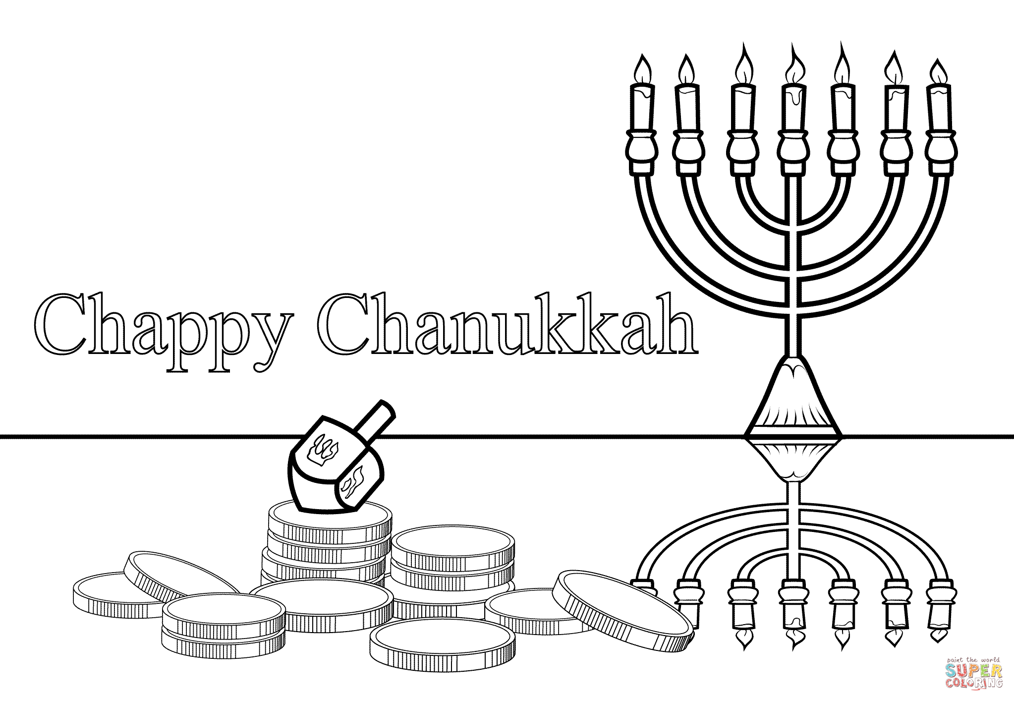 Chappy Chanukah coloring page | Free Printable Coloring Pages
