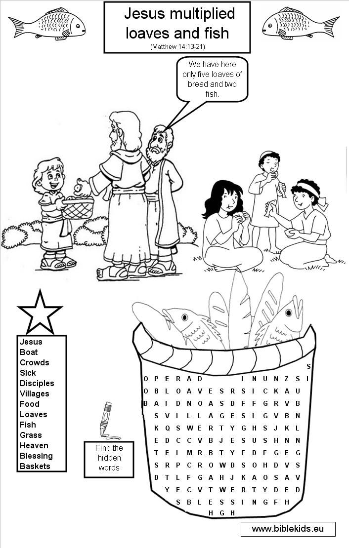 Coloring Page For Feeding Of The 5000 Bible Story