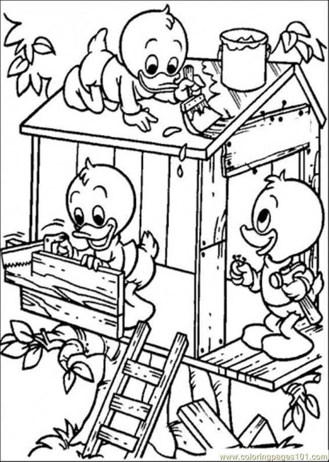 Coloring Pages Building A Tree House (Cartoons > Donald Duck