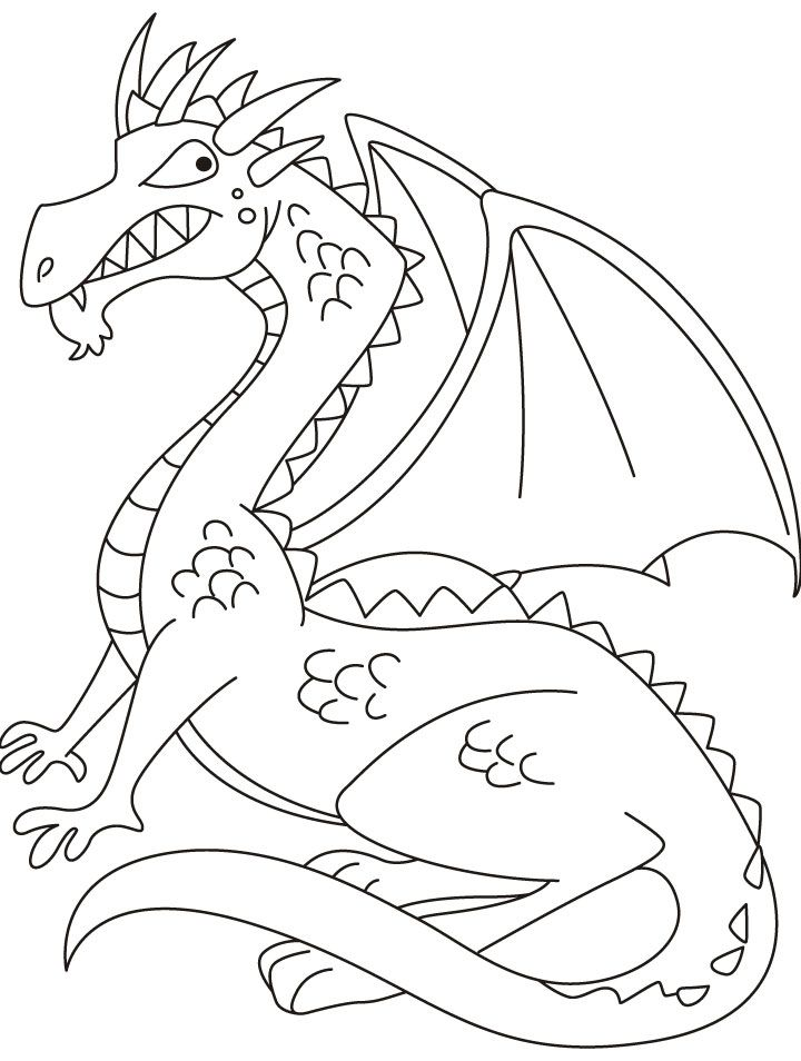 Dragon with wings able to fly high coloring pages | Download Free