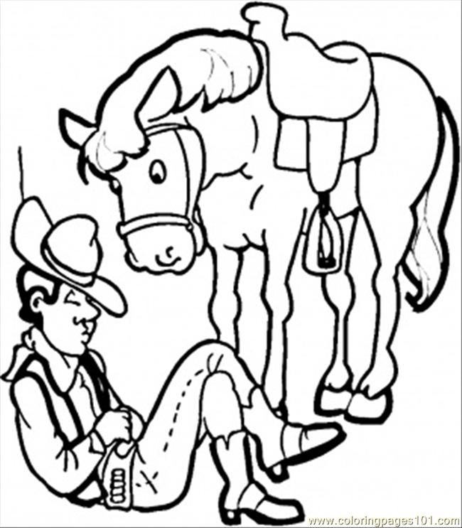 Coloring Pages Cowboy With His Horse (Countries > USA) - free
