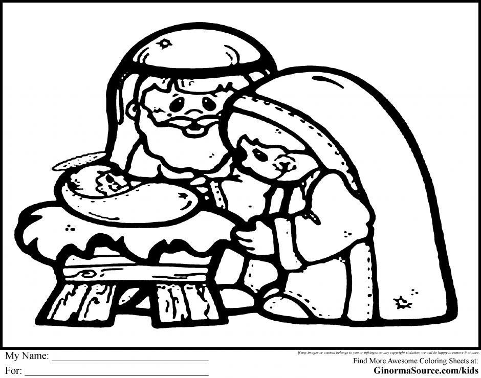 Nativity GINORMAsource Kids 19959 Manger Scene Coloring Page