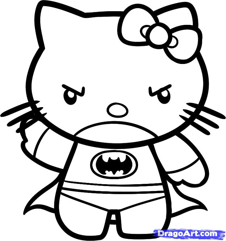 Emo Hello Kitty Coloring Pages Draw Batman Hello Kitty