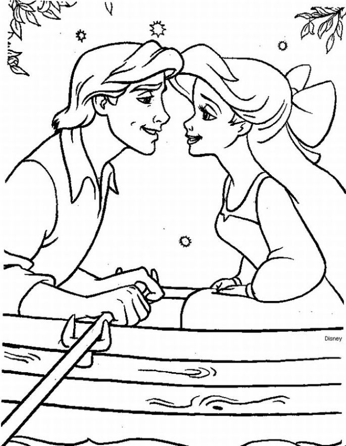 The Little Mermaid Coloring Pages Ariel And Eric Coloring Home
