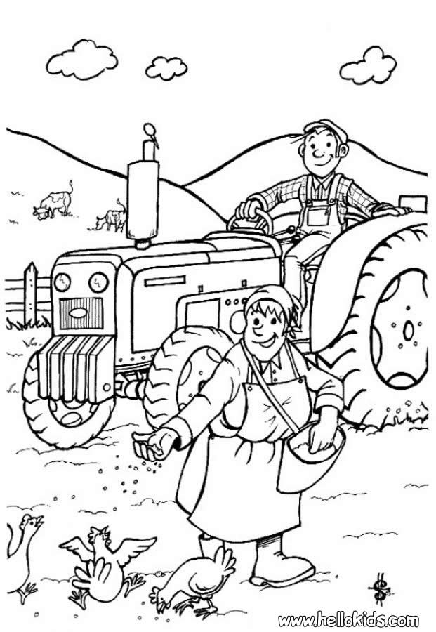 Farmer Coloring Pages Barnyard Az