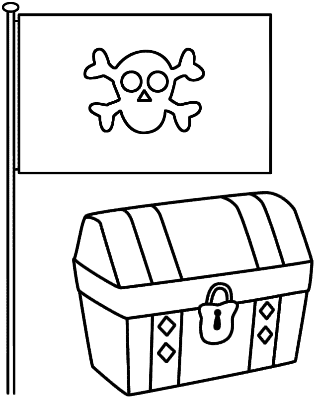 Pirate Flag with Treasure Chest - Coloring Page (