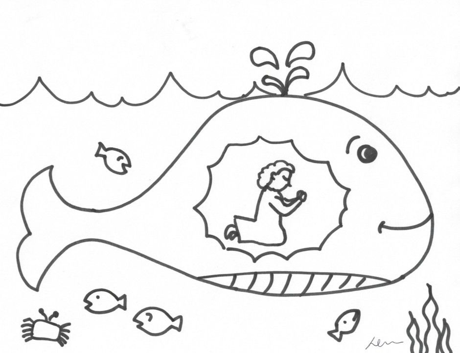 jonah and fish coloring pages - photo#20