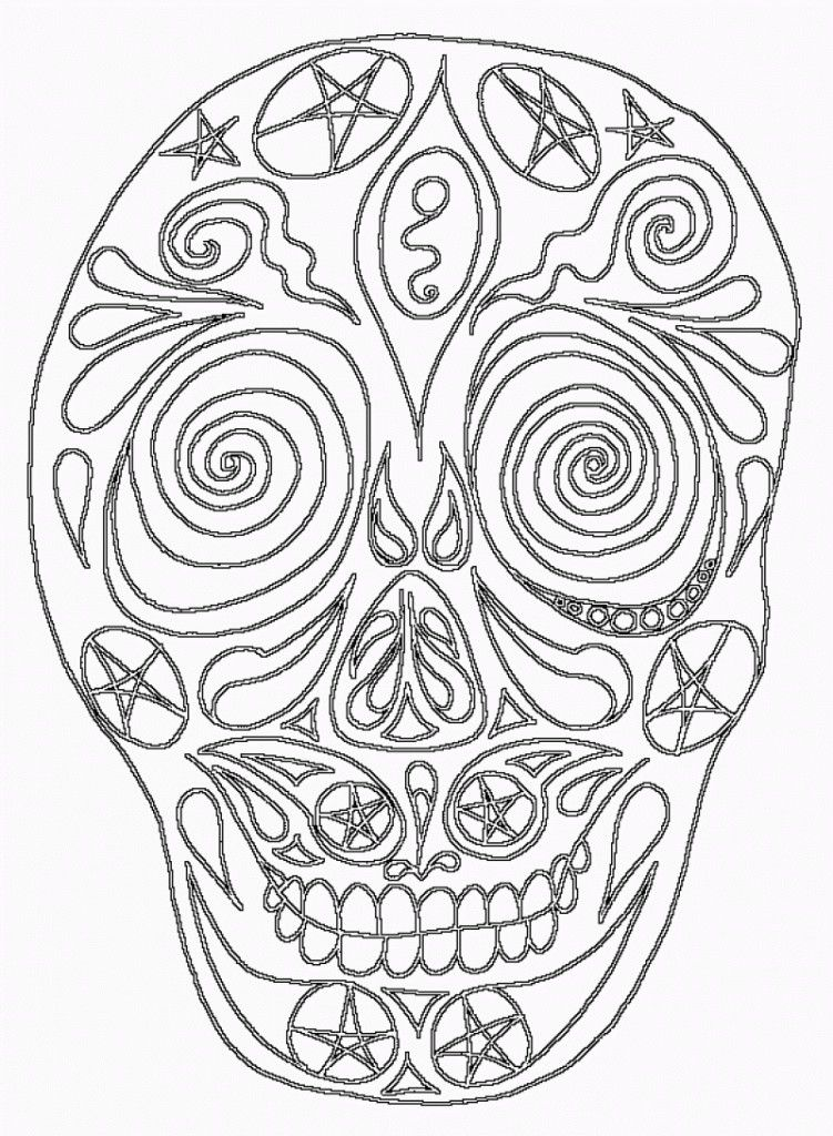 Day Of The Dead Skull Coloring Pages - HD Printable Coloring Pages