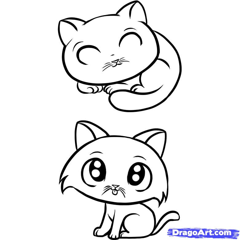 Simple cat face az coloring pages for How to draw a cartoon kitten