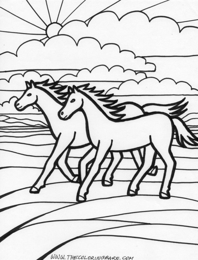 coloring pages horses running - photo #21