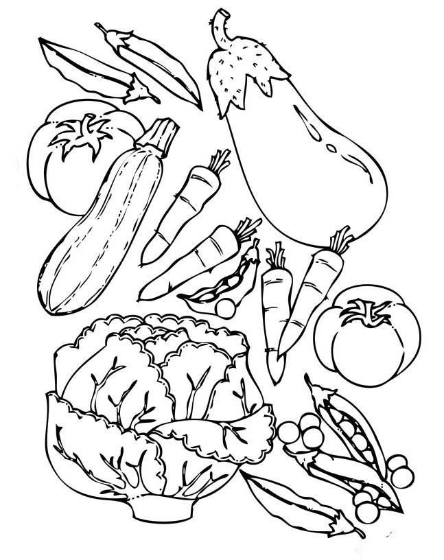 Vegetable color pages az coloring pages for Coloring pages fruits and vegetables