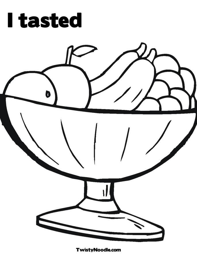 Fruit Bowl coloring page for kids, fruits coloring pages ... | 886x685