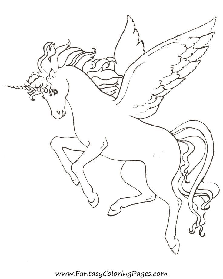 Unicorn pegasus coloring pages for kids for Coloring pages of pegasus
