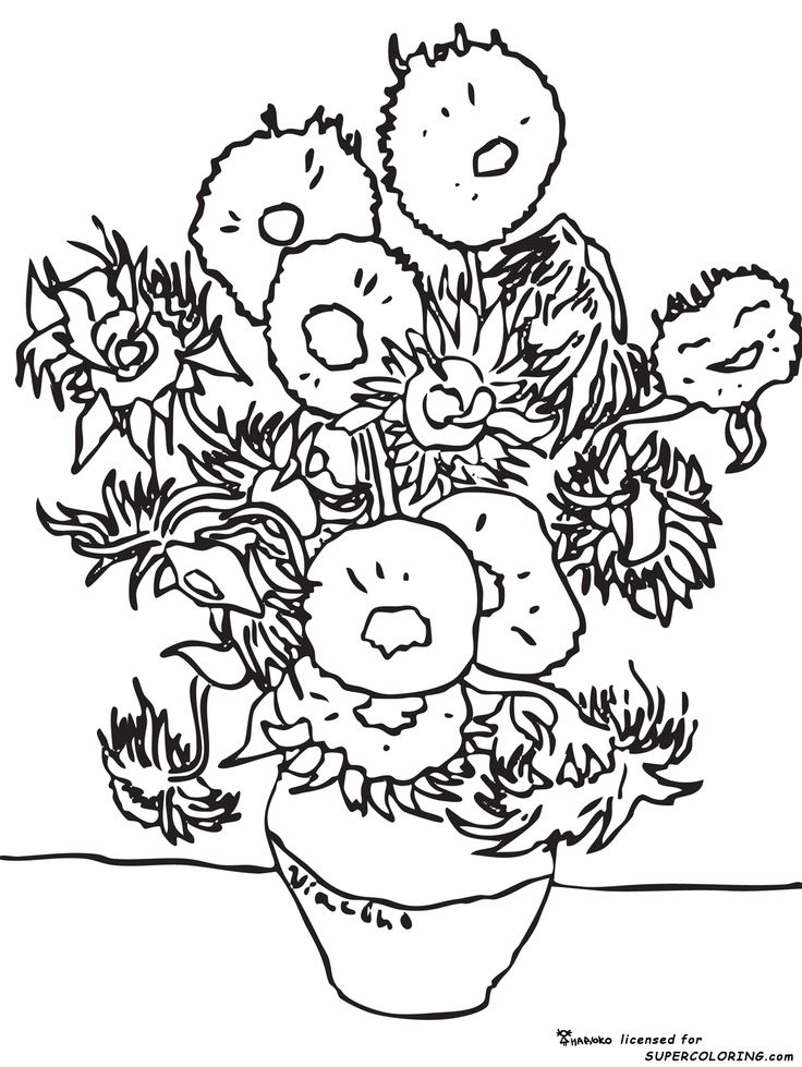 Van Gogh Sunflowers | Coloring Pages - Coloring Home