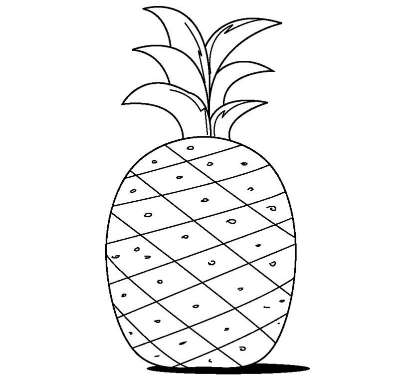 Cute Pineapple Coloring Page Source High Resolution