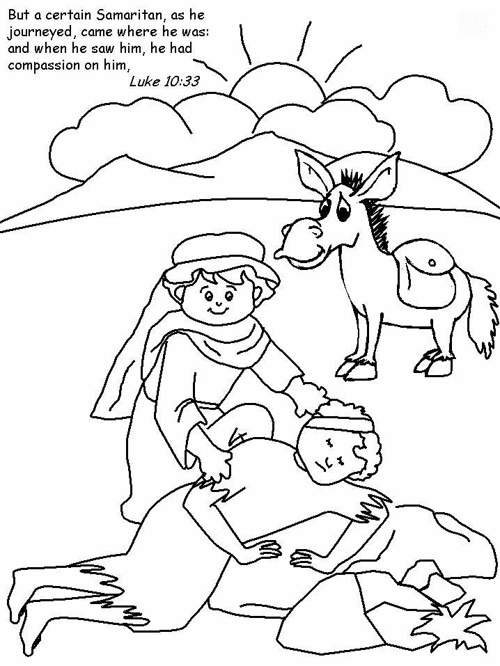 The Good Samaritan Colouring Sheet | Parables of Jesus