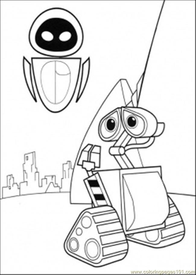 Wall E Coloring Pages Free Printable : Coloring pages wall e meets eva cartoons gt free