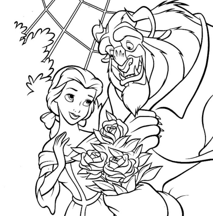 Free Colouring Pages Beauty And The Beast : Free coloring pages of beauty and the beast rose
