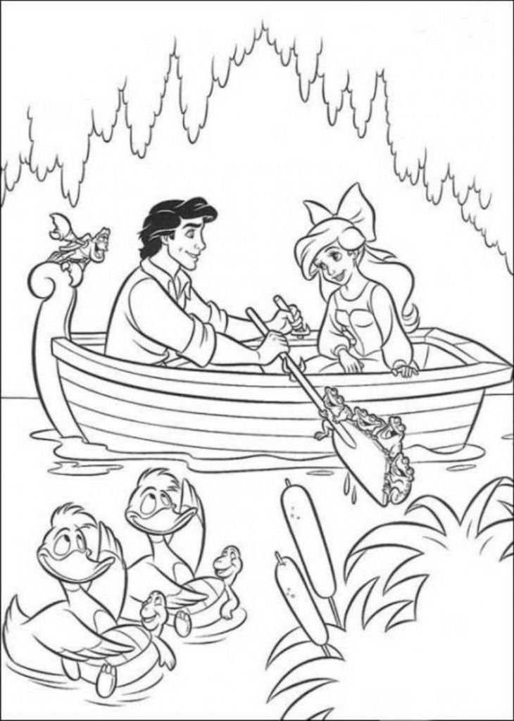 Ariel On A Date With Eric Little Mermaid Coloring Pages - Kids