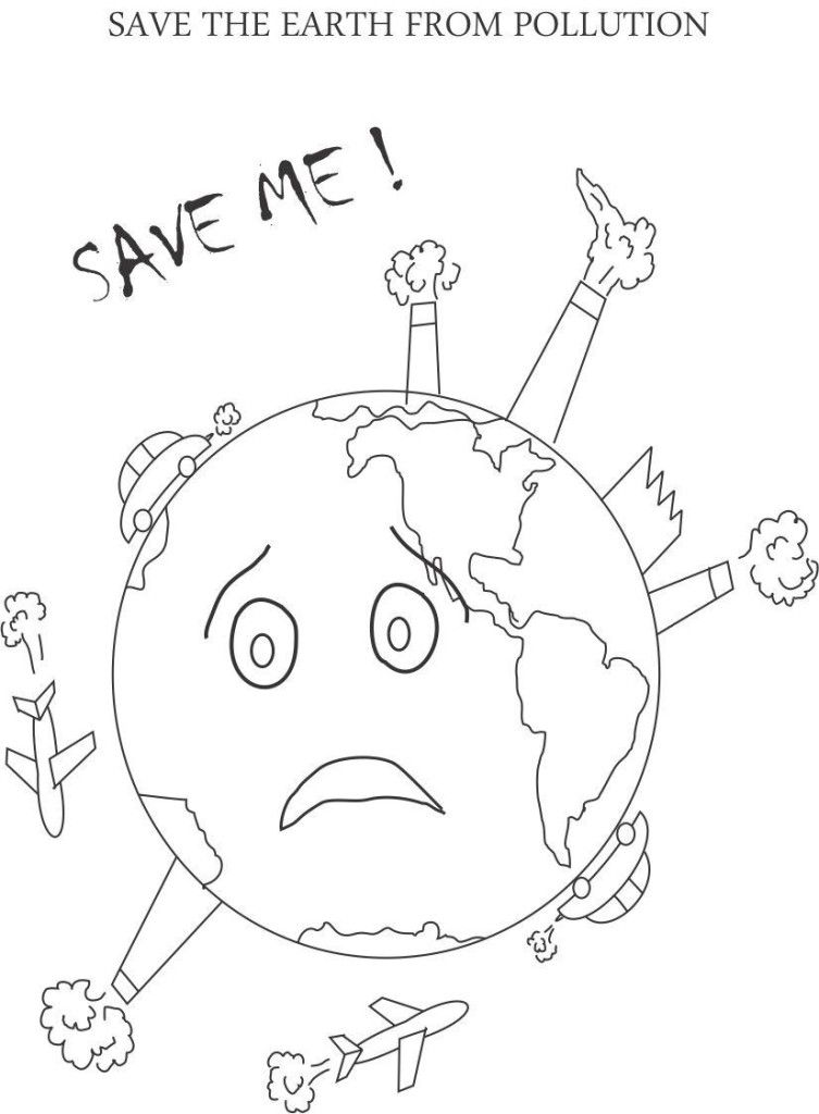 Earth Day Coloring Pages Pdf : Pollution printable coloring page for kids earth day pages