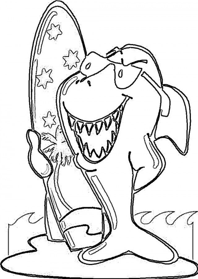Surfing coloring pages surfing shark picture coloring page for Surf s up coloring pages