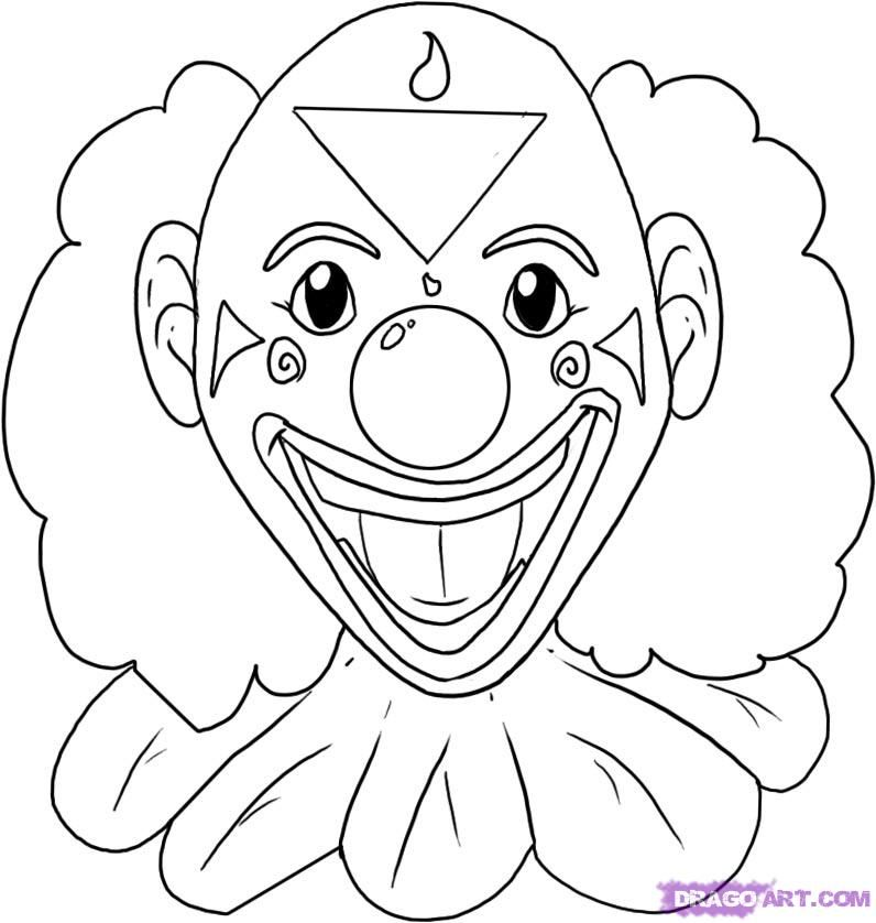 Clown Coloring Pages Pdf : How to draw a clown step by faces people free