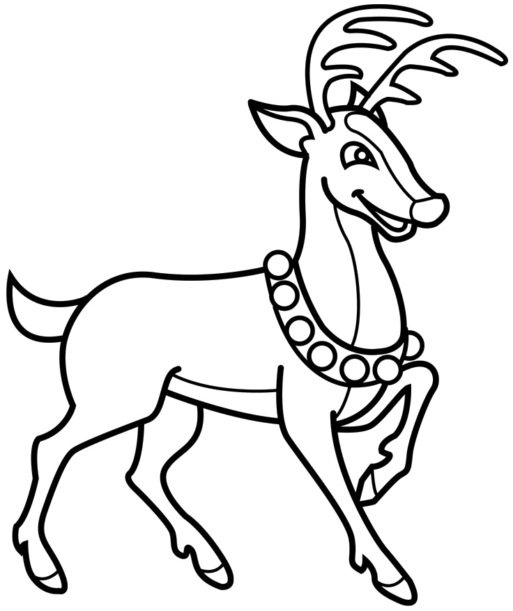 free coloring pages of reindeer christmas