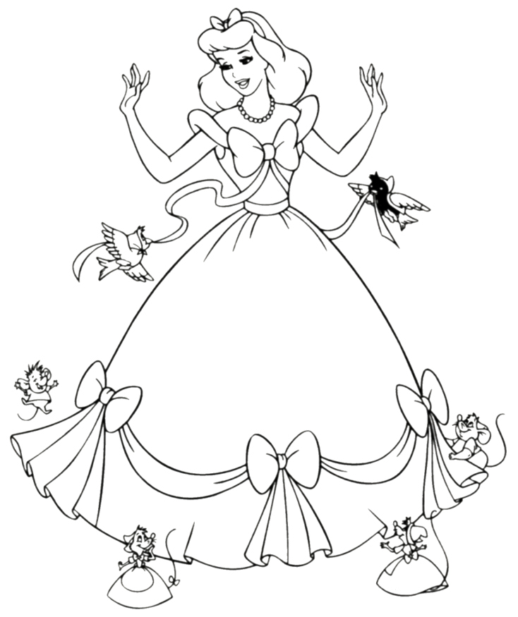 Disney Princess Cartoon Characters Coloring Page