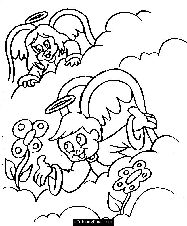 angels boy and girl in heaven with flowers coloring page