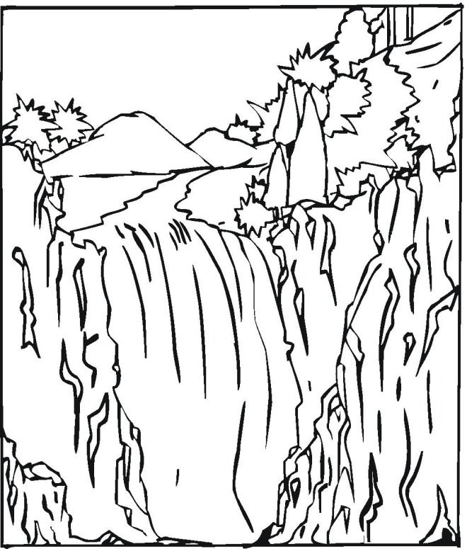 Colouring pages nature coloring home for Waterfall coloring page