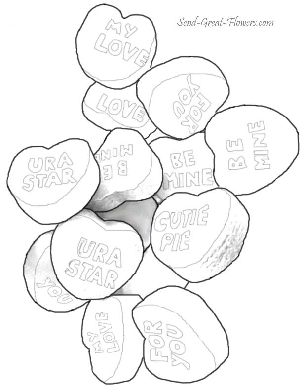 Pin candy hearts coloring pages on pinterest for Candy heart coloring pages
