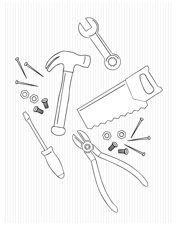 Tools Coloring Page  Coloring Home