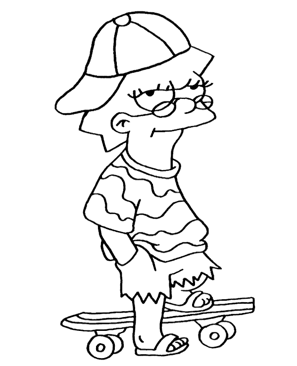 Funny Lisa Simpson coloring page sheet - Topcoloringpages.net