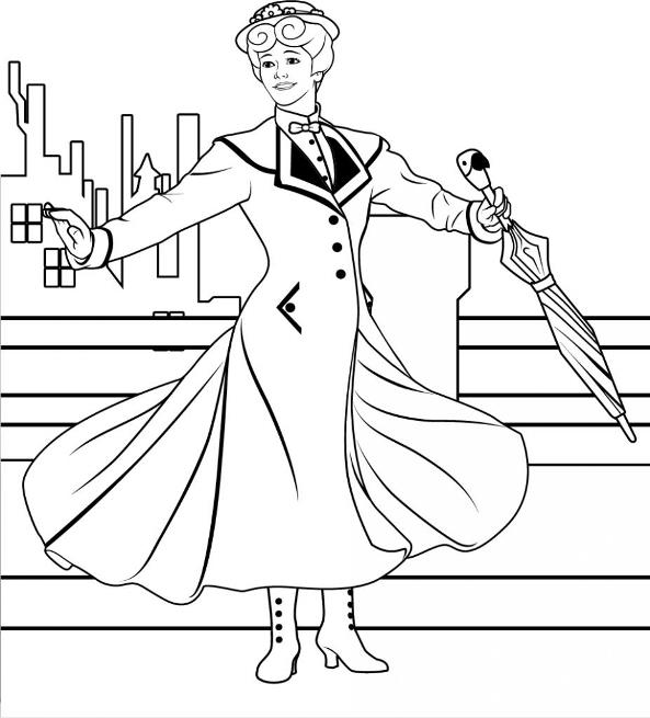 Mary Poppins Coloring Pages - Coloring Home