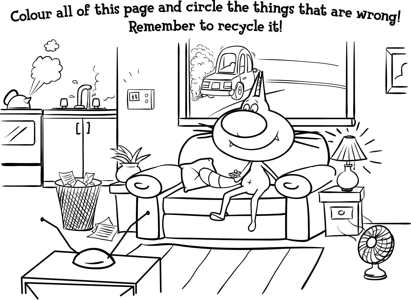 Recycling coloring pages coloring home for Recycling coloring pages