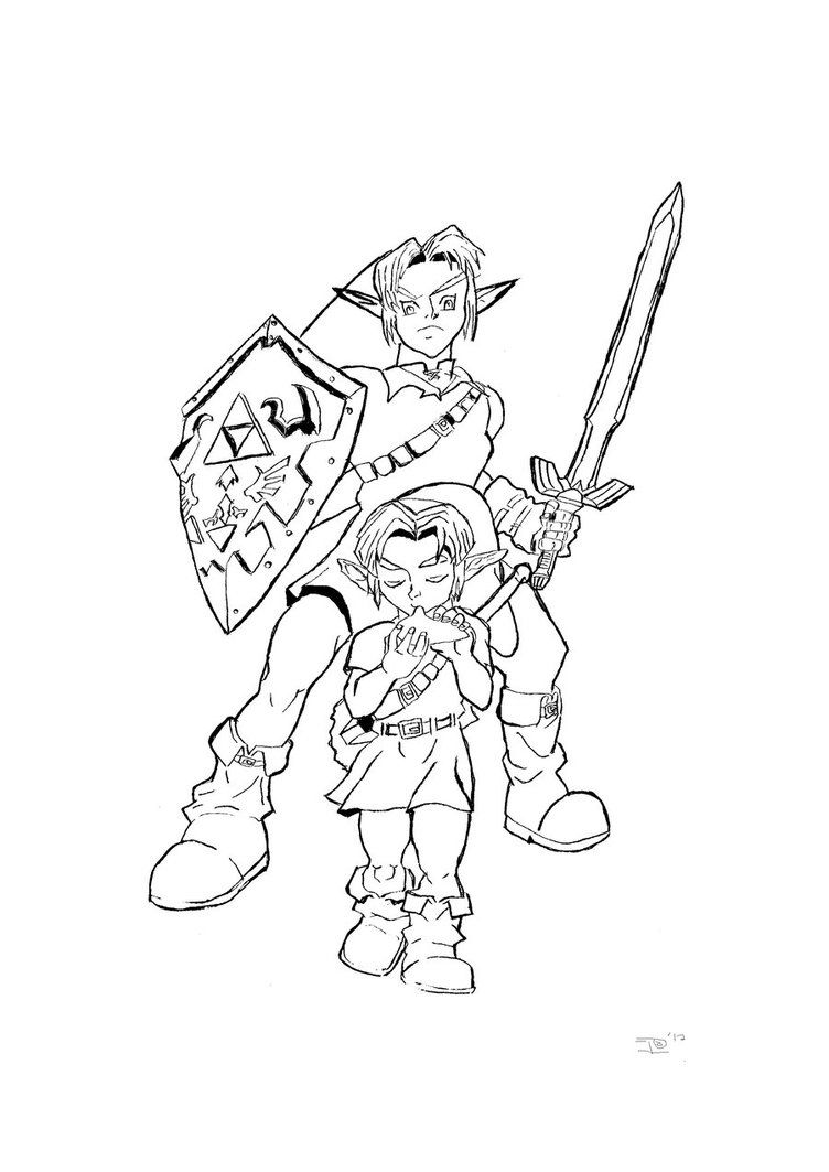 Coloring pages for zelda - The Legend Of Zelda Ocarina Time Coloring Pages Coloring Kids