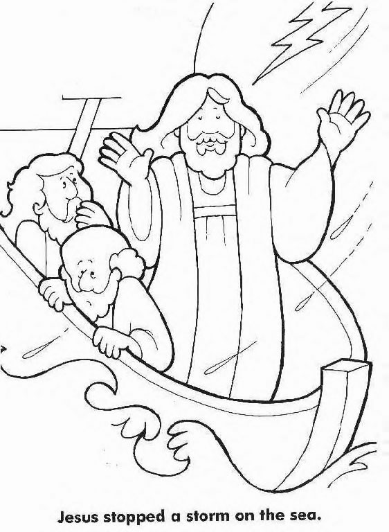 Coloring Pages For Jesus Calms The Storm : Jesus Calms The Storm Coloring Page Coloring Home