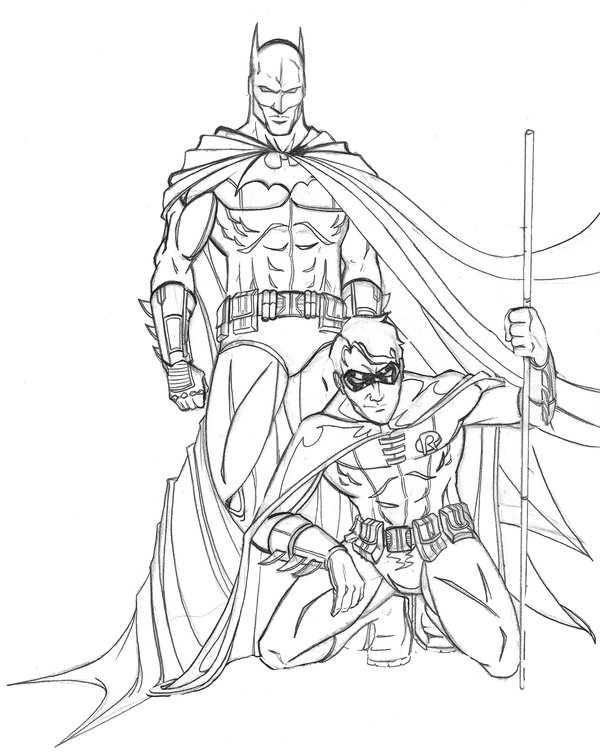 It is a photo of Clean batman and robin coloring pages