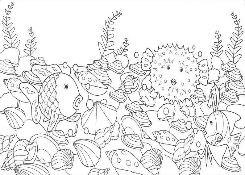 rainbow fish outline coloring home