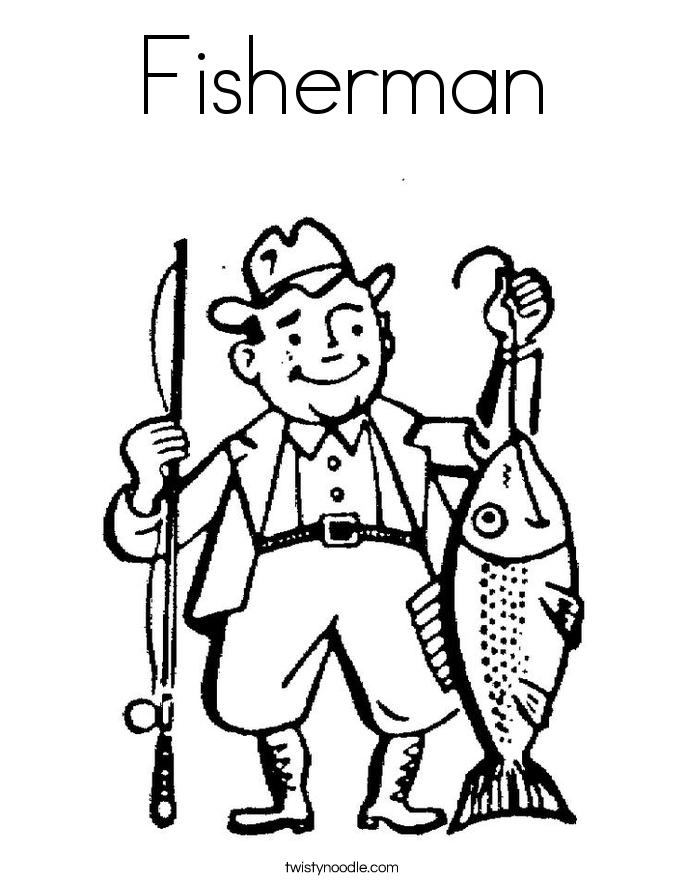 раскраска рыбак