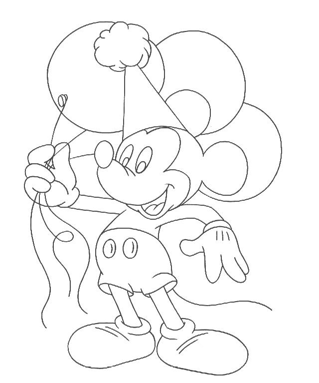 Mickey Mouse Balloon Coloring Pages