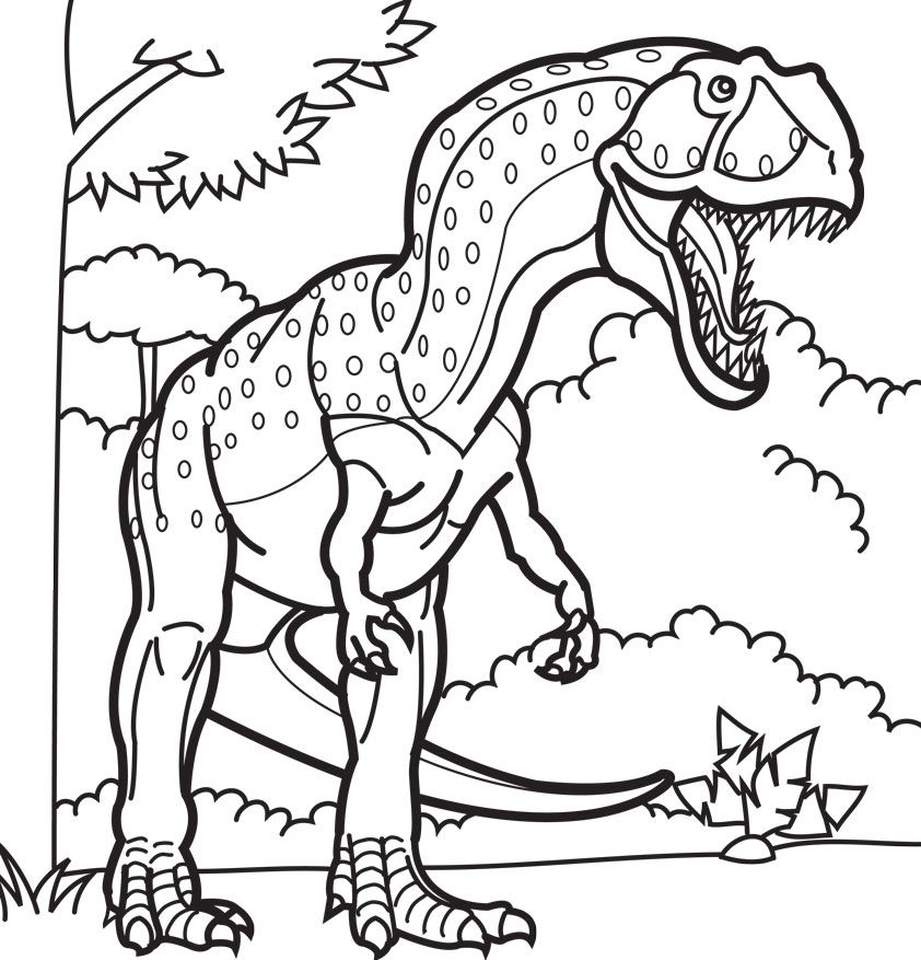 t-rex-fight-coloring-pages-free | Dinosaur coloring pages, Animal ... | 877x842