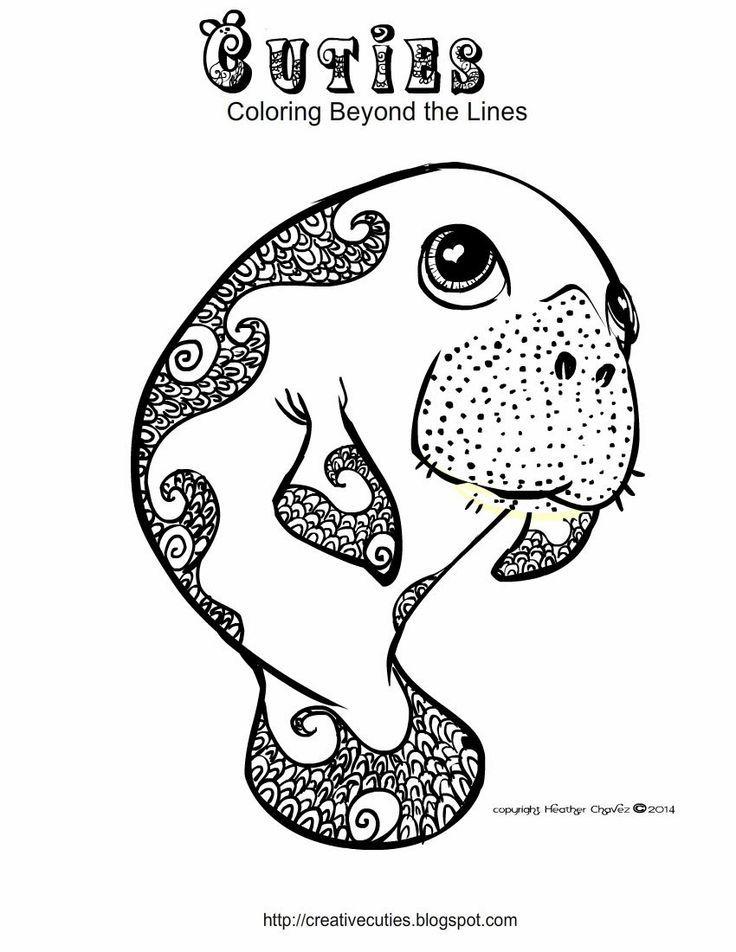 Creative Cuties Manatee Coloring Page Coloring Pages Coloring Home